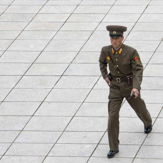 """""""North Korean soldier in the joint security area of the Demilitarized Zone,..."""" stock image"""