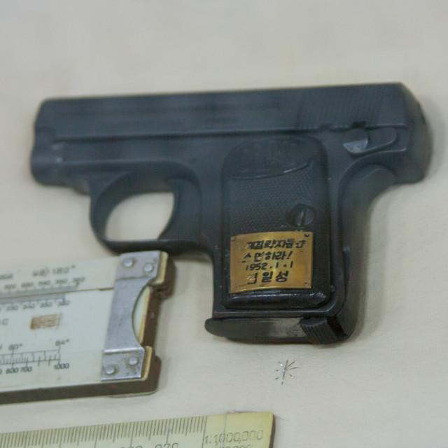 """Kim il Sung gun in Jonsung revolutionary museum, Pyongan Province, Pyongyang,..."" stock image"