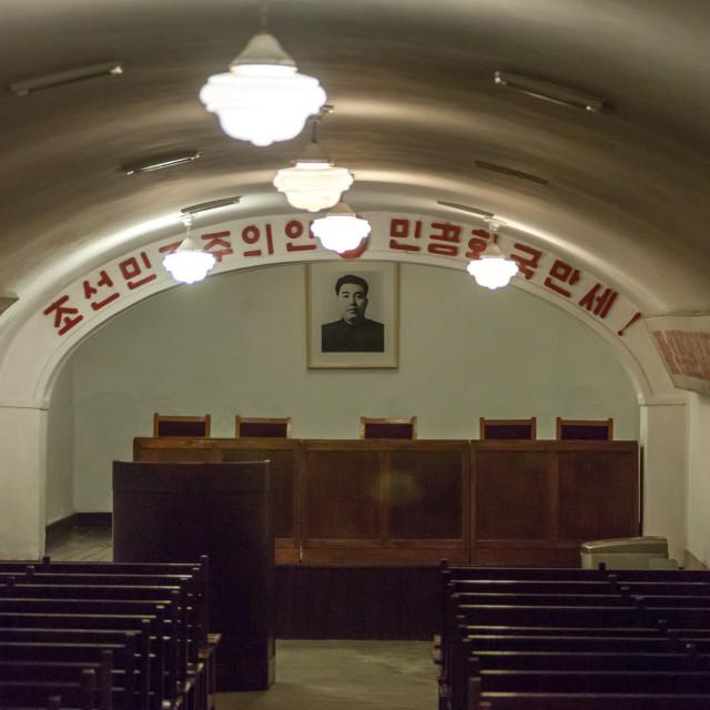 """Underground office in Jonsung revolutionary museum, Pyongan Province,..."" stock image"