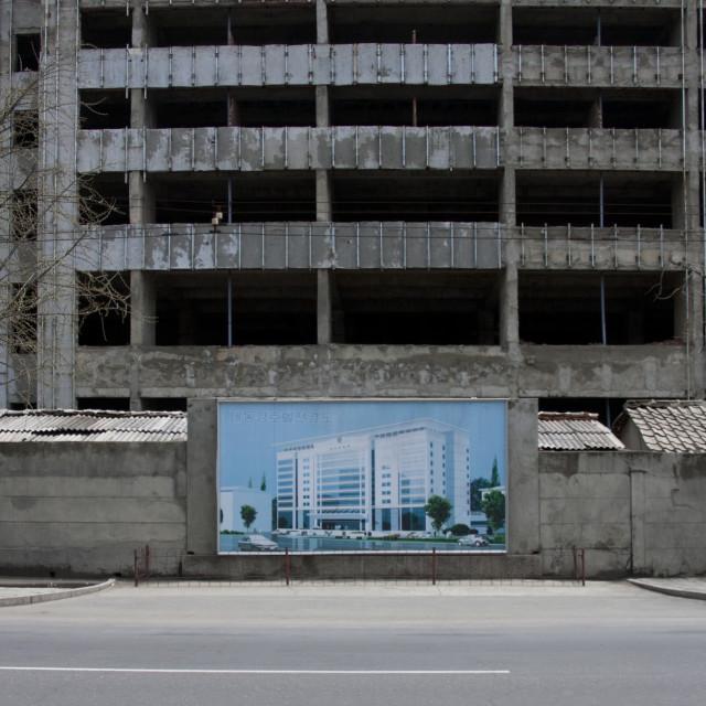 """Billboard advertising construction, Pyongan Province, Pyongyang, North Korea"" stock image"