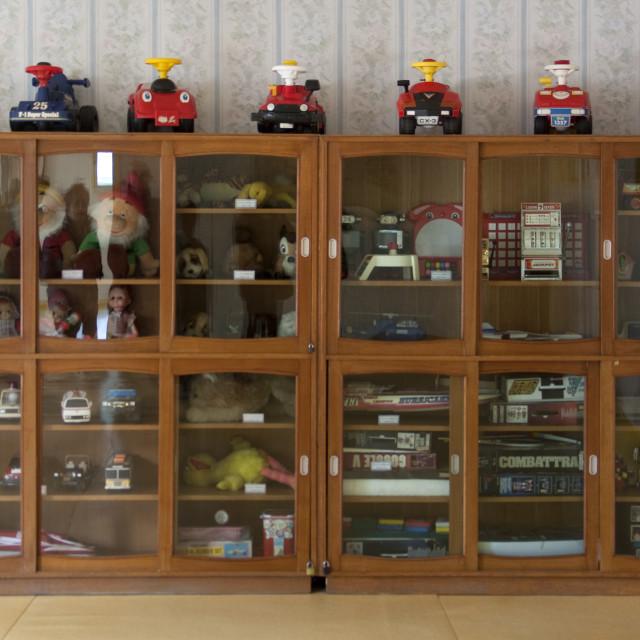 """Toy cupboard in Kwangbok school, Pyongan Province, Pyongyang, North Korea"" stock image"