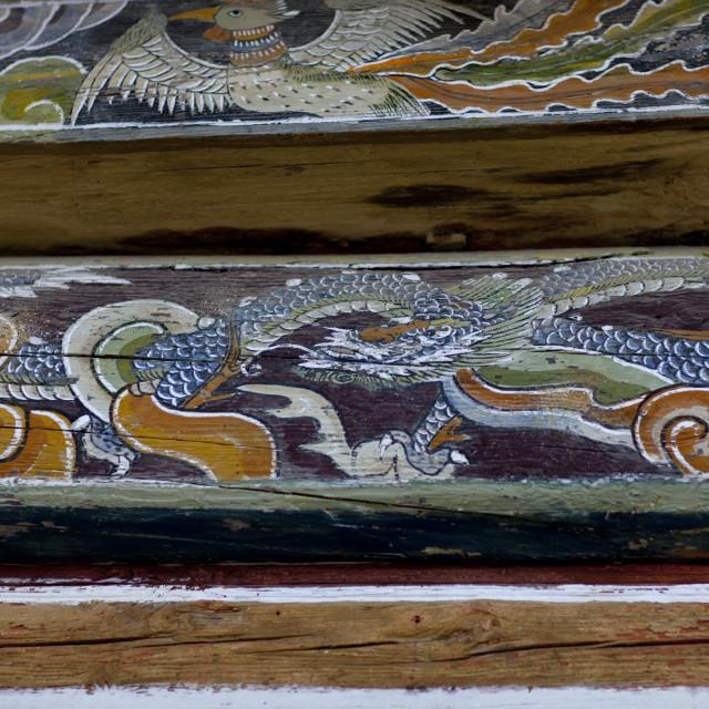 """Dragon on a painted mural of kaesin sa temple, North Hamgyong province,..."" stock image"