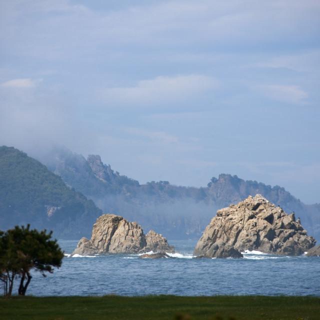 """""""Rocks on the sea coast, North Hamgyong Province, Jung Pyong Ri, North Korea"""" stock image"""