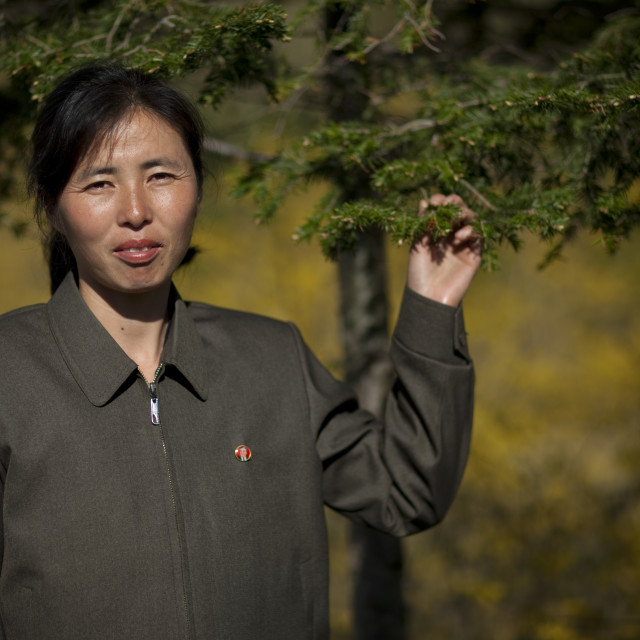"""""""Portrait of a North Korean woman in the countryside, North Hamgyong Province,..."""" stock image"""