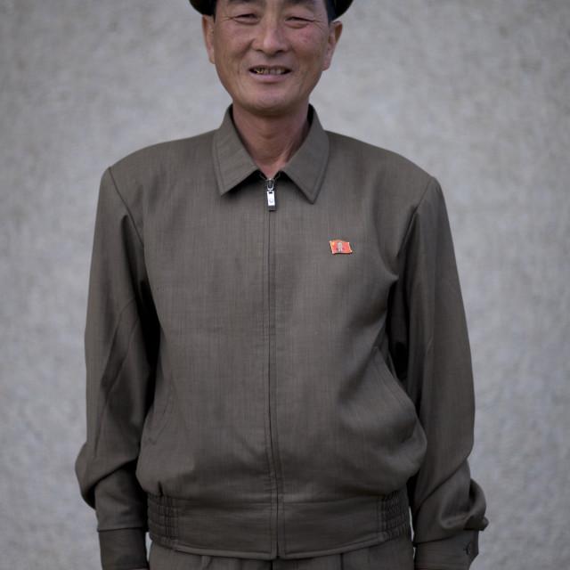 """Portrait of a North Korean village leader, North Hamgyong Province, Jung..."" stock image"