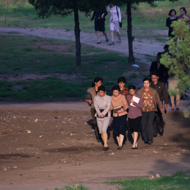 """North Korean women walking in a park, Pyongan Province, Pyongyang, North Korea"" stock image"