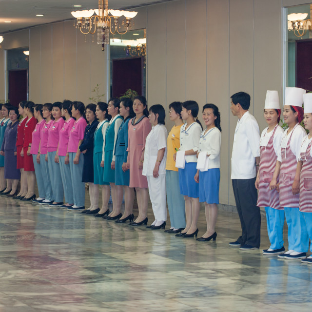 """""""Morning inspection of employees in Yanggakdo international hotel, Pyongan..."""" stock image"""