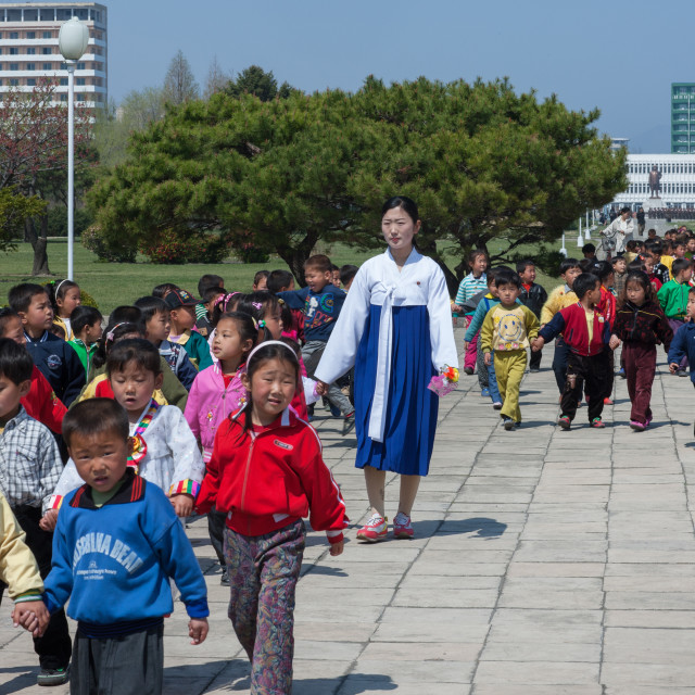 """""""North Korean pupils with their teacher in the street, Kangwon Province,..."""" stock image"""