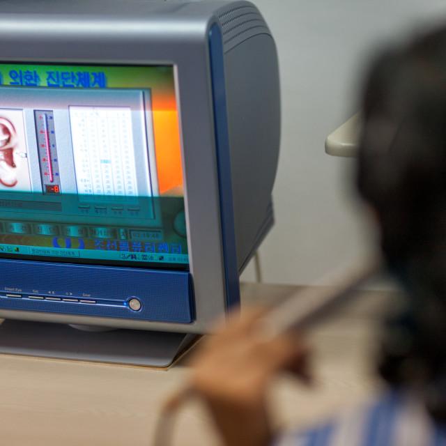 """Monitor computer in hospital, Pyongan Province, Pyongyang, North Korea"" stock image"