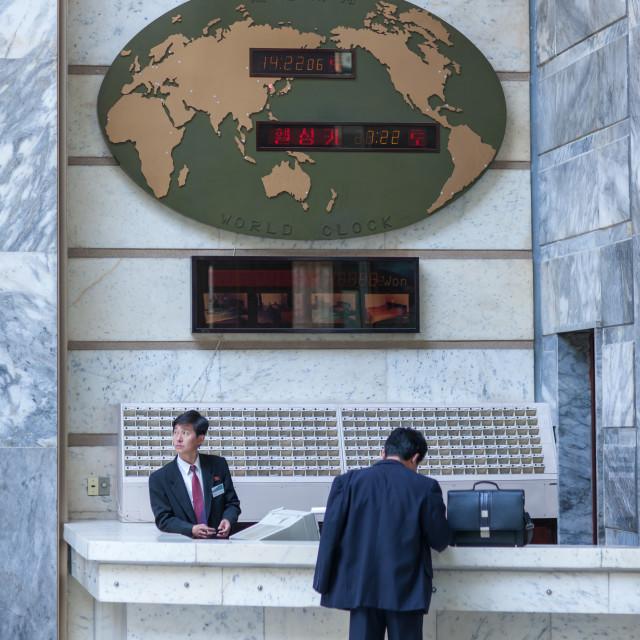 """Reception in hyangsan hotel, Hyangsan county, Mount Myohyang, North Korea"" stock image"