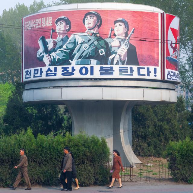 """North Korean propaganda billboard depicting soldiers, Pyongan Province,..."" stock image"
