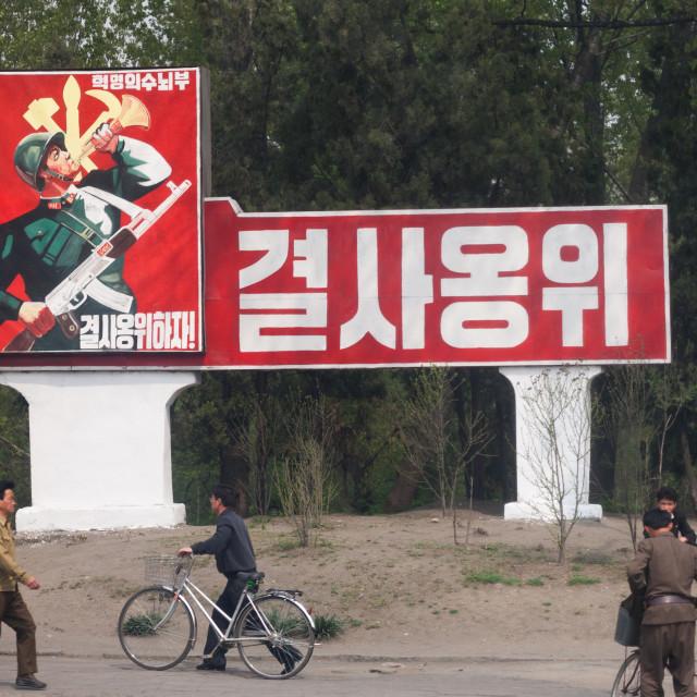 """Workers' Party of North Korea propaganda billboard, Pyongan Province,..."" stock image"
