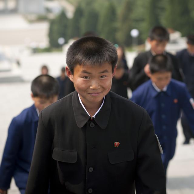 """North Korean children going to Taesongsan revolutionary martyr's cemetery,..."" stock image"