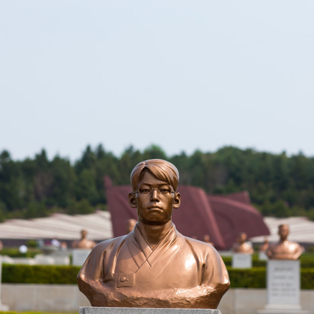 """""""Statue in Taesongsan revolutionary martyr's cemetery, Pyongan Province,..."""" stock image"""