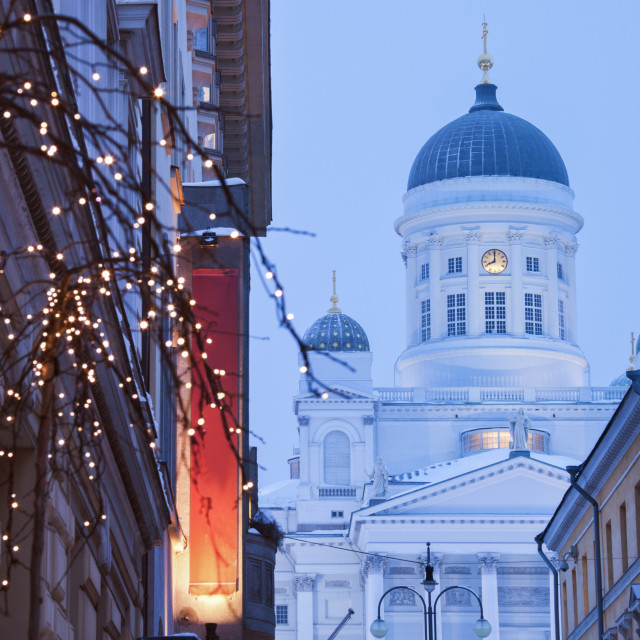 """""""Lutheran Cathedral and Christmas decorations"""" stock image"""