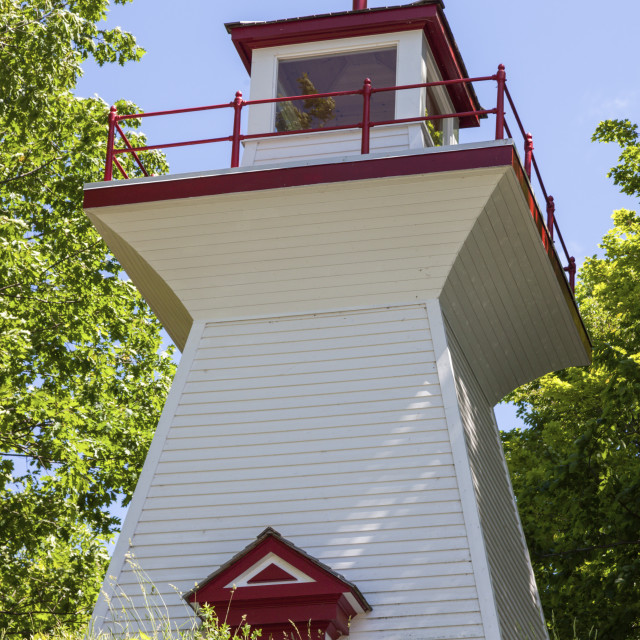 """""""Victoria Harbour Range Rear Lighthouse by Lake Huron"""" stock image"""