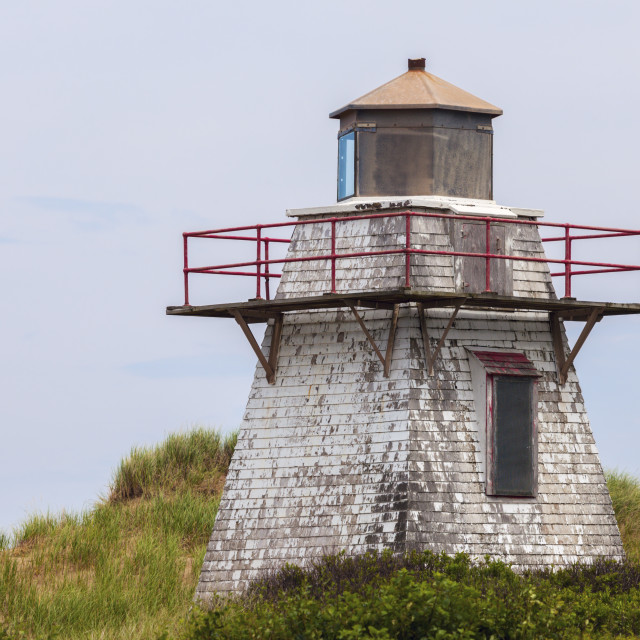 """""""St Peters Harbour Lighthouse on Prince Edward Island"""" stock image"""