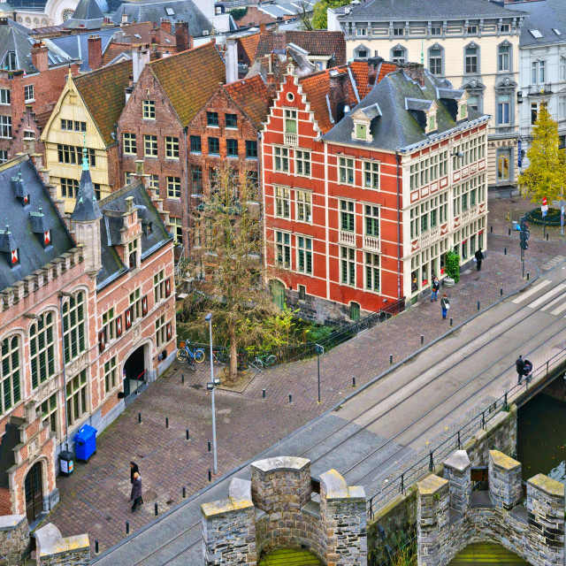 """""""View from Gravensteen Castle"""" stock image"""