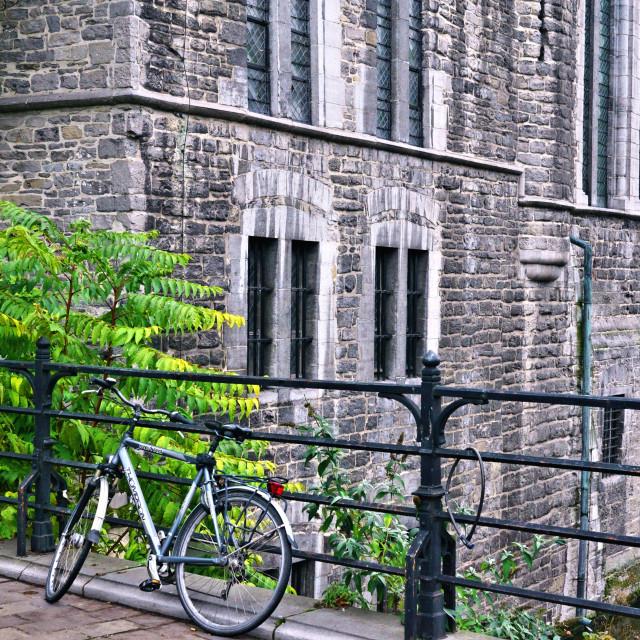 """Bicycle in Gent, Belgium"" stock image"