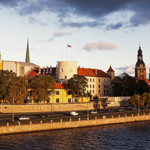"""Riga skyline accross River Daugava"" stock image"