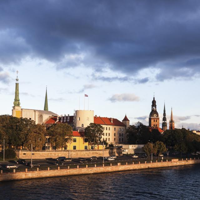 """Riga panorama accross River Daugava"" stock image"