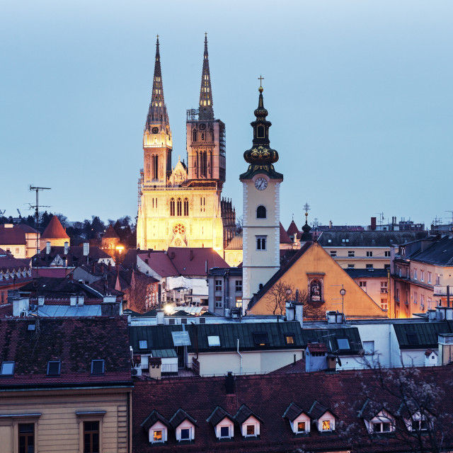 """""""Zagreb Cathedral and St. Mary's Church in Zagreb"""" stock image"""