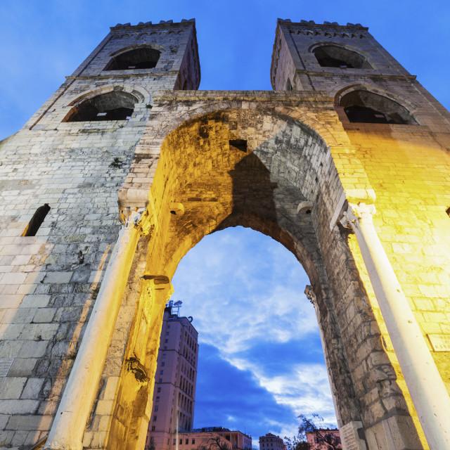 """""""Porta Soprana in Genoa"""" stock image"""