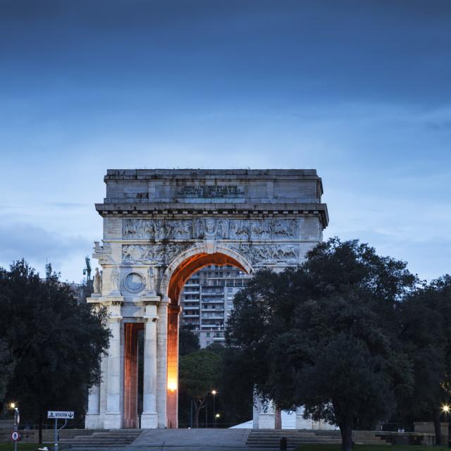 """""""Genoa arch on Piazza della Vittoria"""" stock image"""