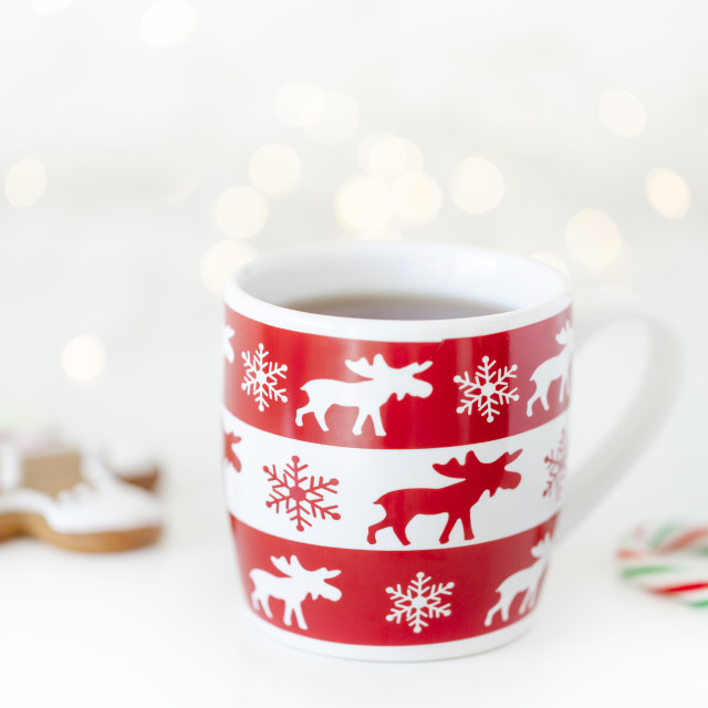 """Christmas time, hot cup of tea"" stock image"