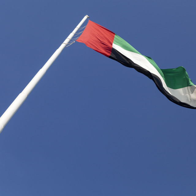 """UAE flag waving in the sky"" stock image"