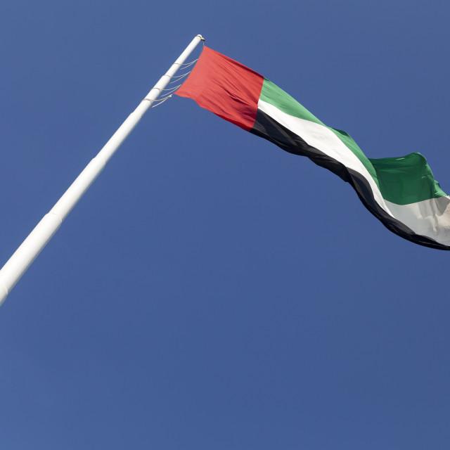 """UAE flag waving in the sky"" stock image"