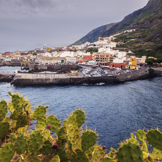 """""""Garachico panorama at sunset. Garachico, Tenerife, Canary Islands, Spain."""" stock image"""