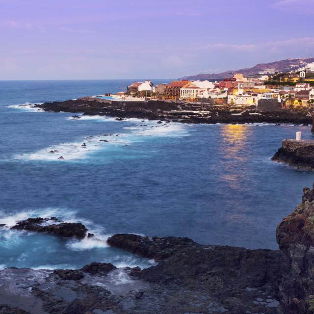 """""""Garachico panorama at sunset"""" stock image"""