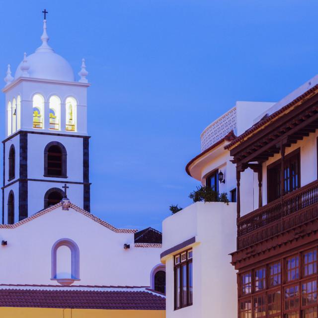 """Santa Ana Church in Garachico at sunset"" stock image"