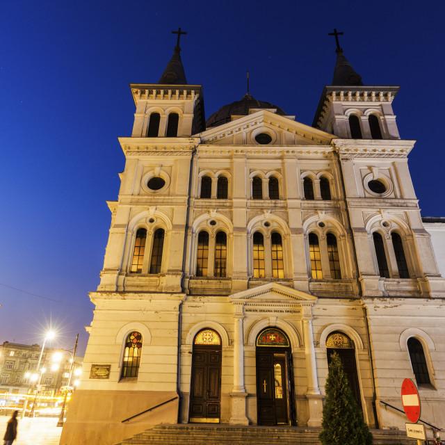 """Church Pentecost at night"" stock image"