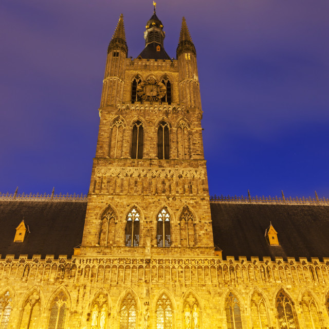 """Cloth Hall and Belfry in Ypres"" stock image"