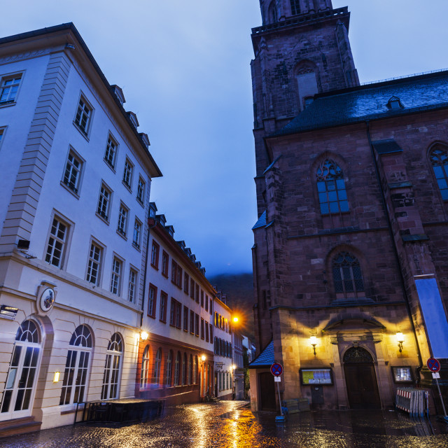 """Church of the Holy Spirit on Marktplatz in Heidelberg"" stock image"