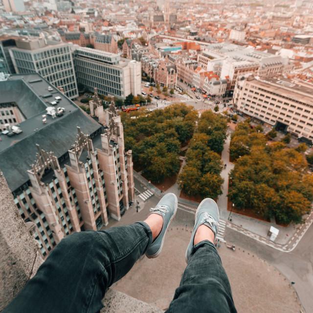 """""""Foot Selfie Brussels"""" stock image"""