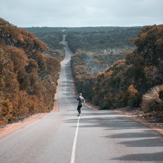 """skating on kangaroo island"" stock image"
