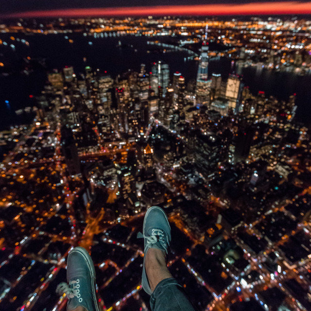 """foot selfie over nyc"" stock image"