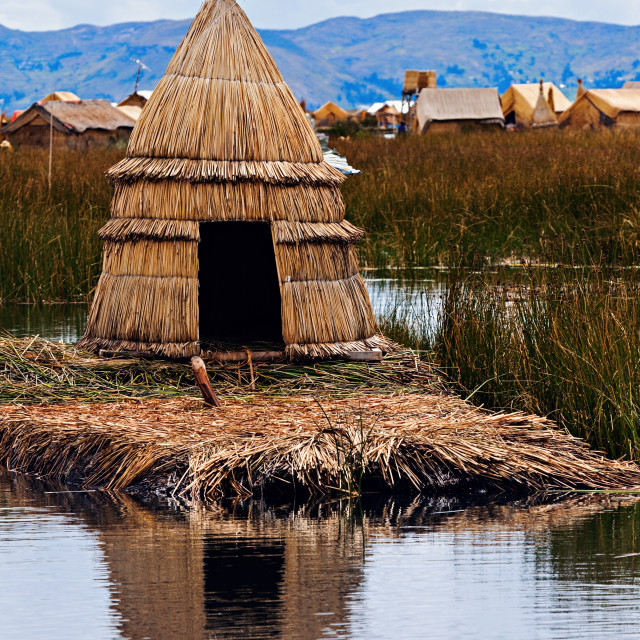 """Hut on Floating Islands"" stock image"