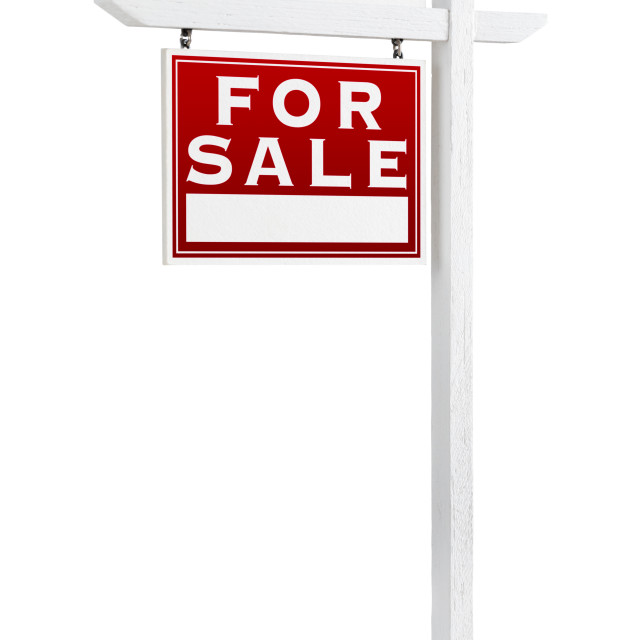 """Left Facing Foreclosure Sold For Sale Real Estate Sign Isolated on White."" stock image"