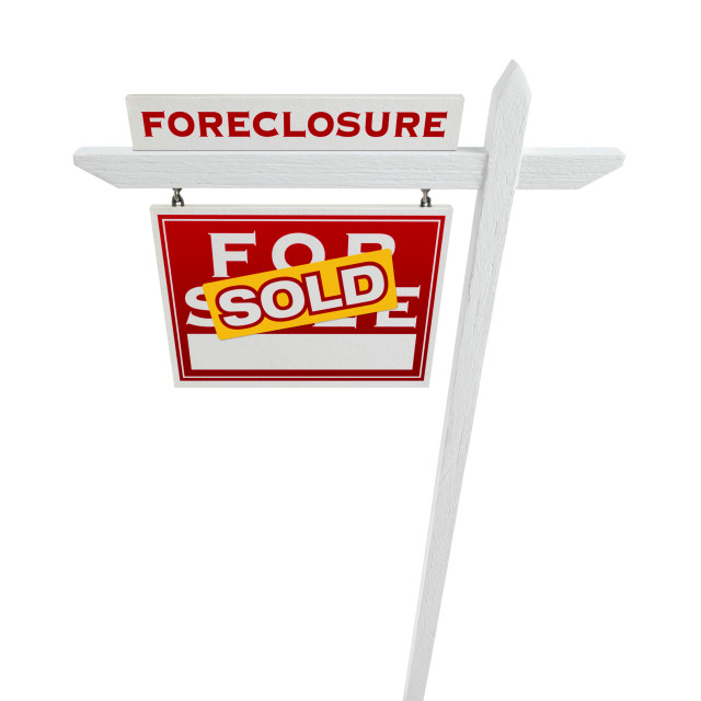 """""""Left Facing Foreclosure Sold For Sale Real Estate Sign Isolated on White."""" stock image"""