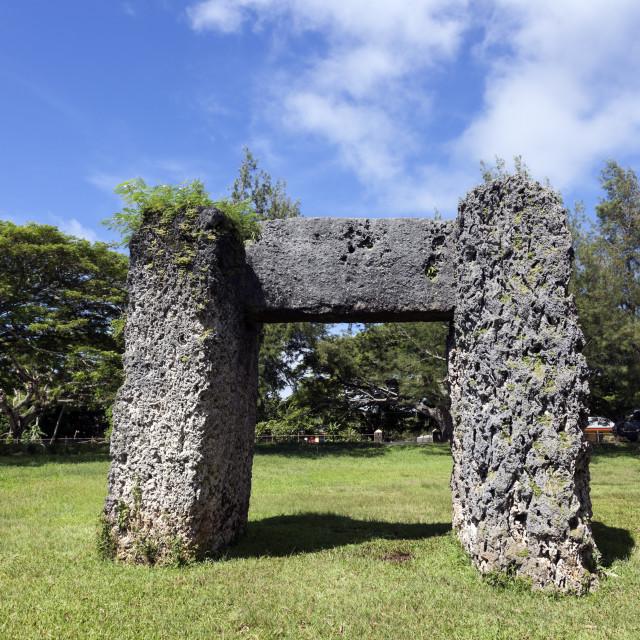 """Ha'amonga 'a Maui arch"" stock image"