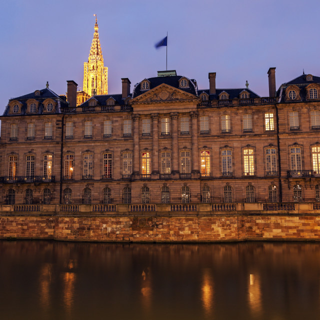 """""""Old Town architecture with Palais Rohan and Strasbourg Minster"""" stock image"""