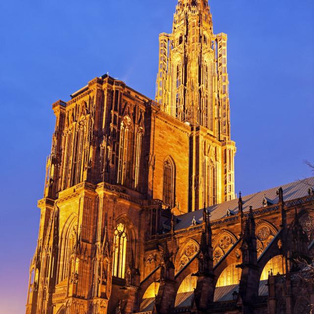 """Strasbourg Minster at sunset"" stock image"