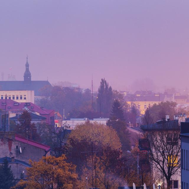 """""""Panorama of Piotrkow Trybunalski"""" stock image"""