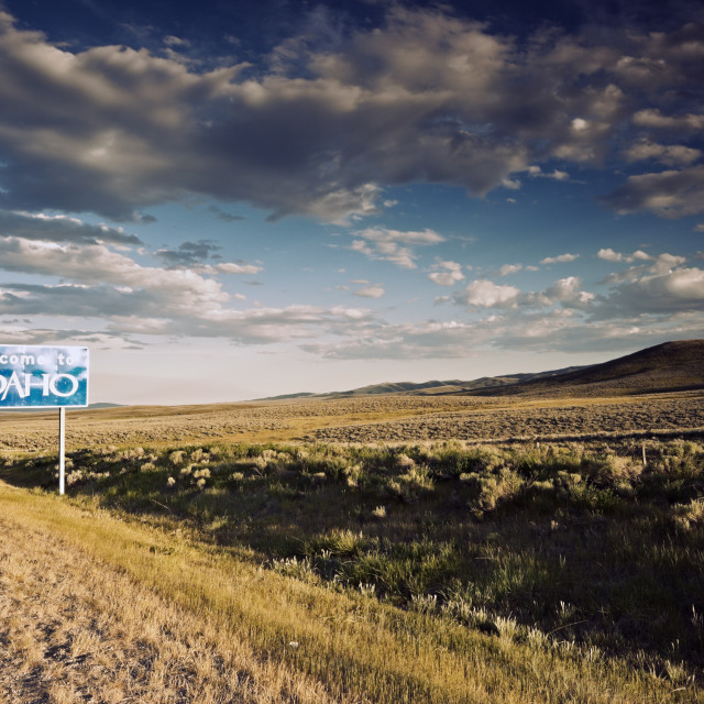 """""""Welcome to Idaho sign"""" stock image"""