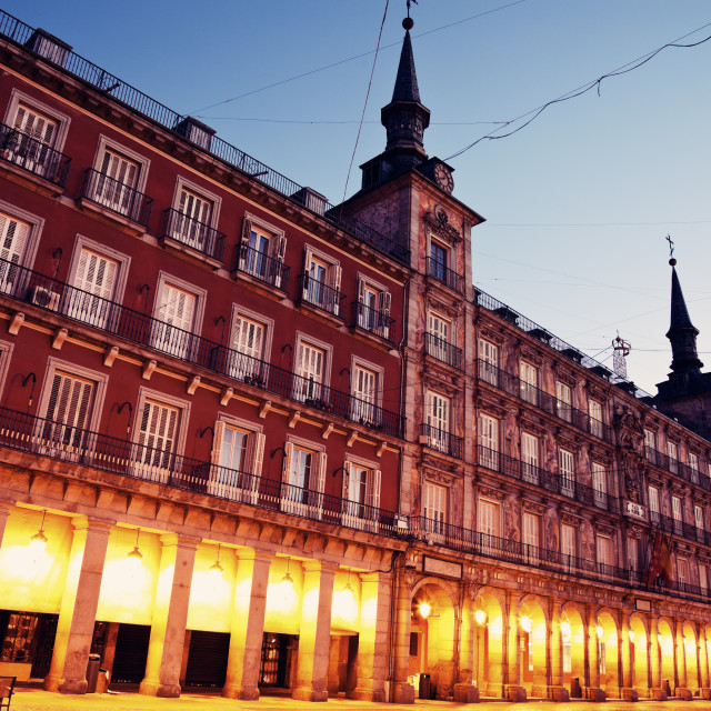 """""""Night at Plaza Mayor"""" stock image"""