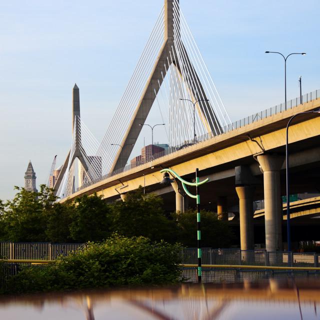 """The Leonard P. Zakim Bunker Hill Memorial Bridge"" stock image"